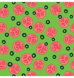Stylized tomato and olive pattern vector image vector image