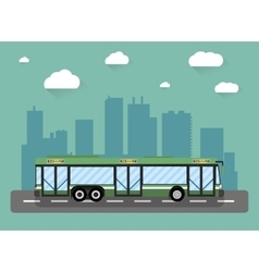 city bus in front of houses vector image