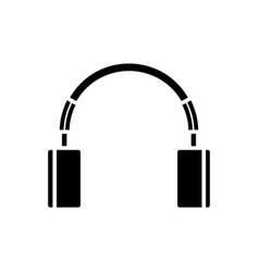 cute headphones icon black vector image