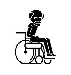 elder man in wheelchair icon vector image