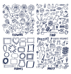 food frames flowers party set of cute sketches vector image vector image