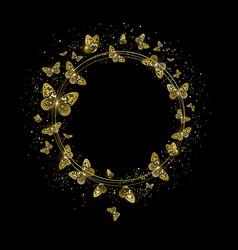 Round banner with golden butterflies vector