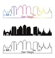San Diego skyline linear style with rainbow vector image