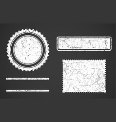 set of white grunge stamps template different vector image