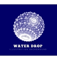 Spherical drop of water on a blue background vector image vector image