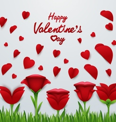 Valentines day background with Roses flower vector image vector image
