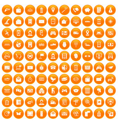 100 telephone icons set orange vector image