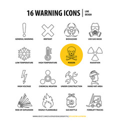 16 warning line icons vector image
