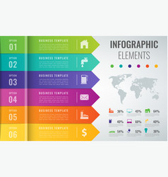 Abstract 3d infographic template with 6 options vector