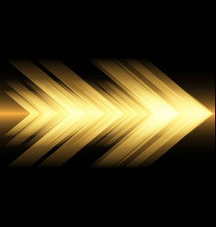 abstract yellow light arrow speed on black vector image