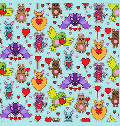 animal toys with heart seamless pattern vector image