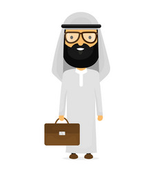 arabian muslim businessman with briefcase vector image
