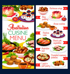 Australian cuisine food dishes menu chicken fish vector