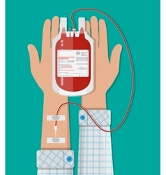 Bag with blood and hand of donor donation concept vector image