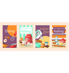 baking time love set of banners kitchen utensils vector image