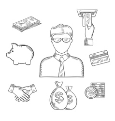 Banker and financial sketched icons vector