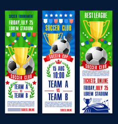 Banners for football or soccer tournament vector
