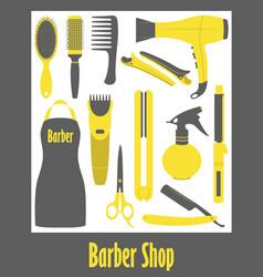 barber shop icons set vector image