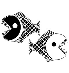 black piranha fish stencil vector image