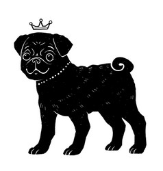 black pug silhouette with crown vector image