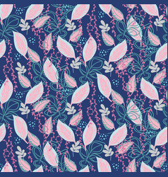 Botanical plants seamless pattern leaves vector
