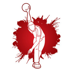 Bowler bowling sport male player action vector