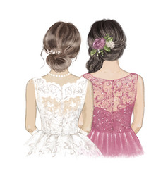 Bride and maid honour with roses in hair hand vector