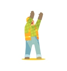 Builder Signaling On Construction Site vector image