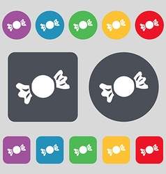 Candy icon sign a set of 12 colored buttons flat vector