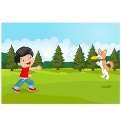 Cartoon boy playing Frisbee with his dog vector image