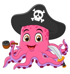 Cartoon pirate octopus vector