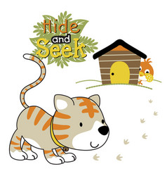 Cat and bird cartoon playing hide and seek vector