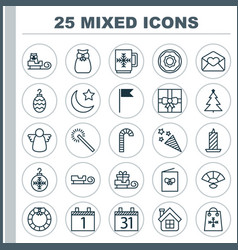 Christmas icons set collection of greeting email vector