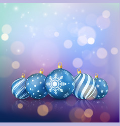 christmas magic background xmas balls on color vector image