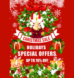 Christmas sale offer poster with xmas gift wreath vector