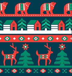 christmas traditional folk forest seamless pattern vector image