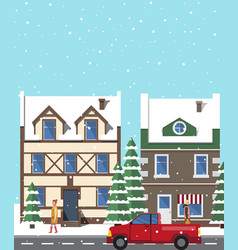 City in winter period of year vector