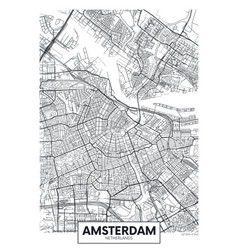 city map amsterdam travel poster design vector image