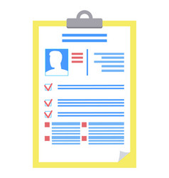clipboard consisting information on person photo vector image