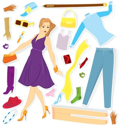 Clothes and girl sticker vector