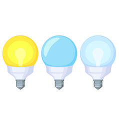 Colorful cartoon warm and cold light orb lamp set vector