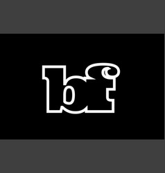 Connected bf b f black and white alphabet letter vector