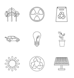 Conservation icons set outline style vector
