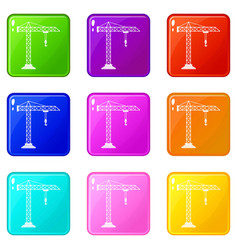 Construction crane icons 9 set vector
