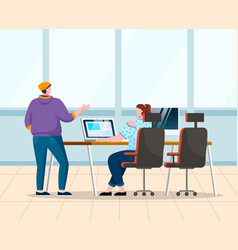Coworkers talk about work at office open space vector