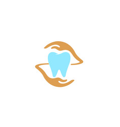 creative teeth hands care logo vector image