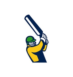 Cricket Player Batting Retro vector