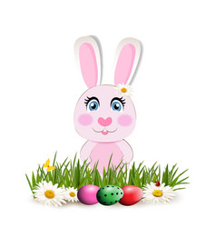 Cute cartoon pink rabbit sitting among bright vector