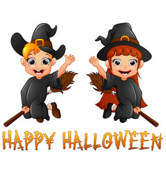 Cute little witch boy and girl flying on broomstic vector