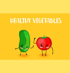 Cute vegetables tomato and cucumber character vector